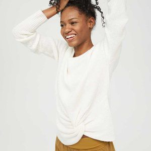 NWT AERIE Offline Knot Detail Knit Sweater White L
